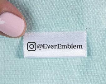 "Social Media branding tag set, Sewing Label Set 1.5"" wide ribbon, Personalized ribbon tag, craft show tags, clothing tags, instagram - SA05"