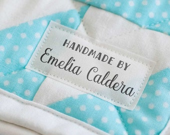 fabric tags, personalized sewing labels, quilt labels, knitting label, sewing label, logo fabric label, crochet, custom fabric label - LS04