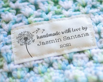 Cotton sewing label set customized with your text, quilting label, quilt patch, handmade fabric label, blanket tag, personalized - RE02