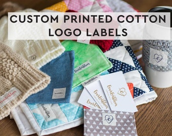 Your logo on cotton tags, print your image on a label set, custom iron on label, fabric labels, sewing labels, quilt labels, crochet NF-L