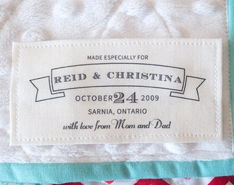 Cotton wedding Label, wedding blanket label, wedding quilt label, handmade label, crochet label, knit label, sewing tag, sewing  label, K10