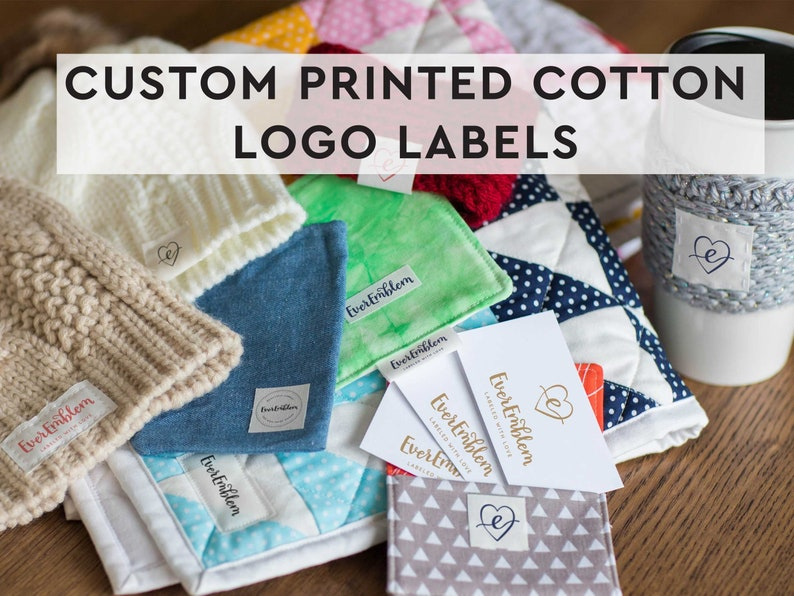 Your logo on cotton tags print your image on a label set image 1