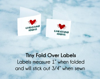 fold over label, fabric labels, quilt label, fabric tags, knitting label, sewing label, personalized sewing label, custom fabric label, NF23