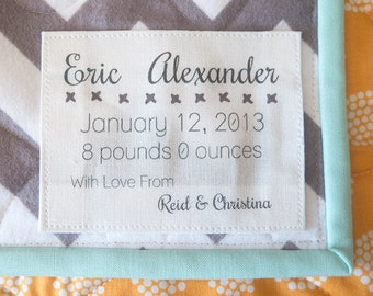 Custom Baby Quilt Label, personalized label, quilt tag, quilting label, custom fabric label, handmade labels, crochet label, knit label, K25