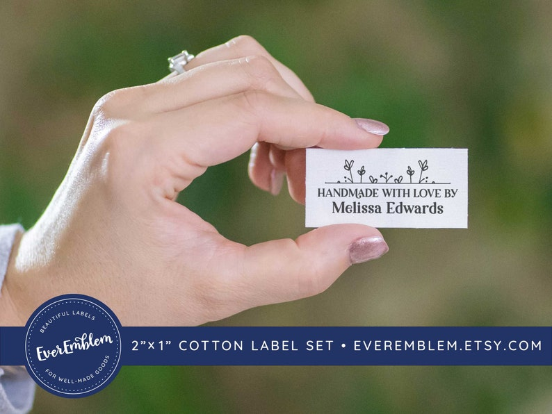 Set of Cotton fabric tags knitting label custom fabric label branding craft show tag LS23 iron on labels folded tag sewing label