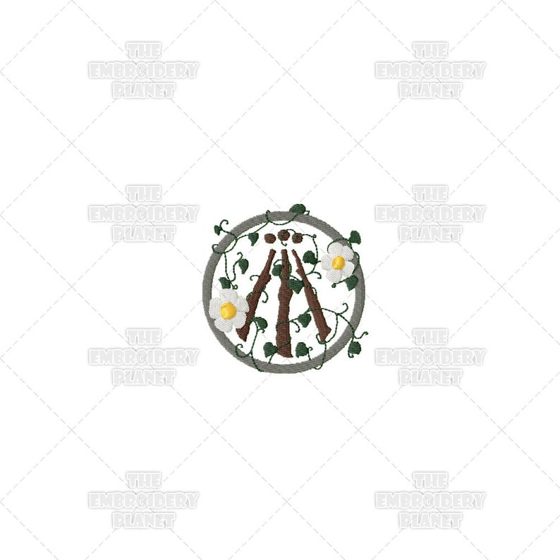 Earth Awen Pagan Druid Stylized Sacred Symbol Machine Embroidery Pattern  Design
