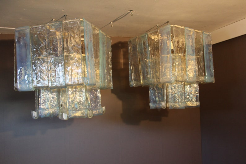 Pair Of Mid-Century Modern Iridescent Laguna Model Chandeliers by Fratelli Toso