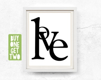 Love, Typography Poster, Love art, Digital download, Word art, Love printable, Love print, Love sign, Abstract art, Prints, 8x10, 11x14