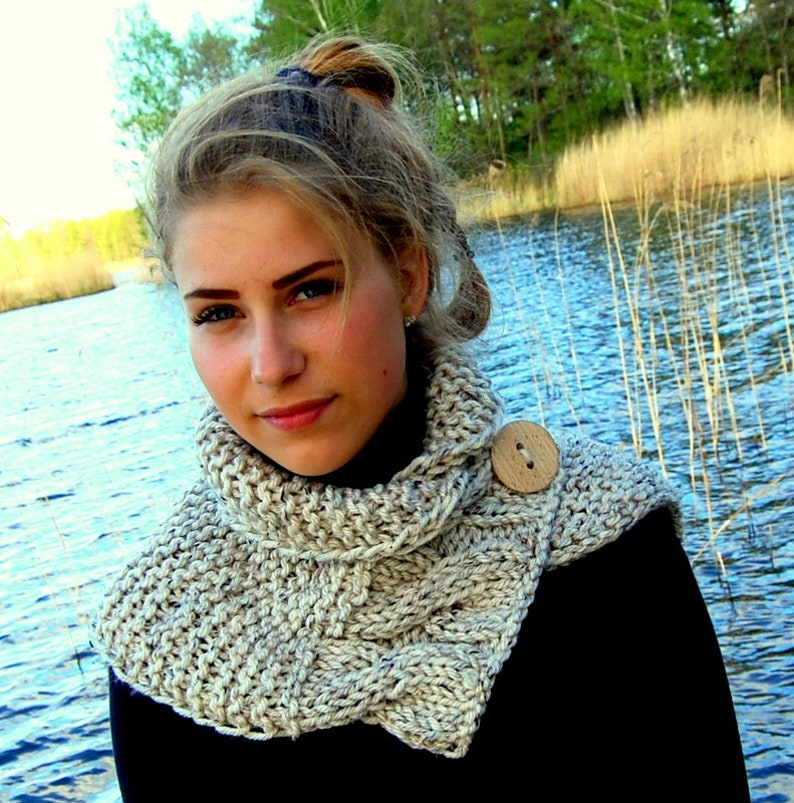 Knitting Pattern Cable Knit Button Cowl Neck Warmer Pattern Etsy