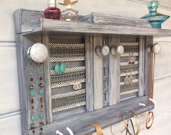 "Jewellery organiser with shelf - 19"" Dark charcoal - Lace for earrings - Jewelry organizer - Rings studs box - Mirrors - Bangle bar - Knobs"