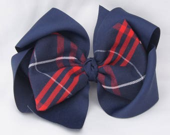 Southern Size School Uniform Plaid Hair Bow - Navy and Red Plaid