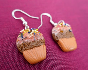 Sweet Earrings Mix Lollipop Donuts Cup Cake Muffin Handmade Polymer Clay Locca-Locca Sugar Confetti Chocolate Panna