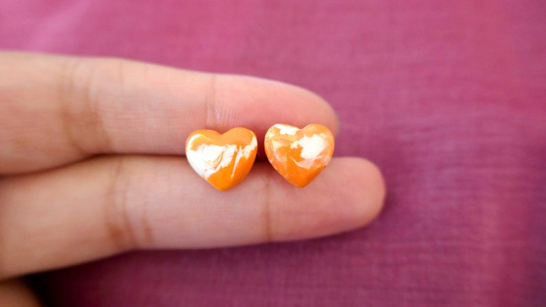 gifts for Mum Orange and white heart earrings Mother/'s day small heart studs handmade Polymer Clay and hypoallergenic surgical steel
