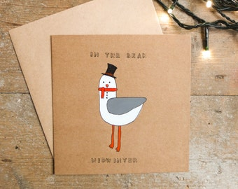 Hand Painted Christmas Card, Seagull Card, In the Beak Midwinter, Xmas, Christmas Card, Seagull, Nautical, Seaside, Silly, Bird, Snowman