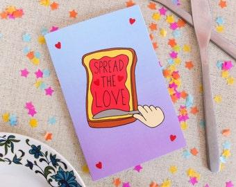 Spread the Love Card, Birthday Card, Greetings Card, Valentines Card, Pun Card, Toast, Jam, Pun Birthday Card, Funny Illustrated Card, Bold