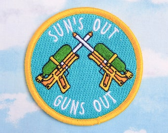 Iron-on Patch, Sun's Out Guns Out, Patch, Water Pistols, Water Guns, Summer, Sunshine, Funny Patch, Fun, Silly, Flair, Blue, Yellow, Pun