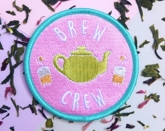 Tea Patch, Iron-on Patch, Brew Crew, Patch, Tea, Tea Lover, Team, Tea Leaves, Tea Bags, Funny Patch, Fun Patch, Flair, Hot Drink, Silly