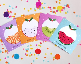 Fruity Christmas Cards, Christmas Cards, Multi Pack, Fruit Cards, Quirky, Fruity, Festive, Greetings Cards, Christmas Pudding, Bright, Sweet