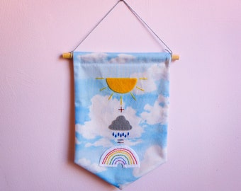Weather Banner, Fabric and Felt Hanging Banner, Sun, Cloud, Rainbow, Flag, Pennant, Wall Hanging, Decoration, Embroidery, Mathematics, Cute