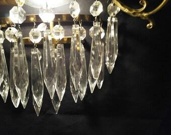 MID CENTURY Messing, Vintage Kristall, Kronleuchter, Antik, Vintage  Kristall, Kronleuchter, Wand Kronleuchter