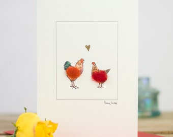 Rooster and hen in love greeting card with chicken, cockerel and gold heart
