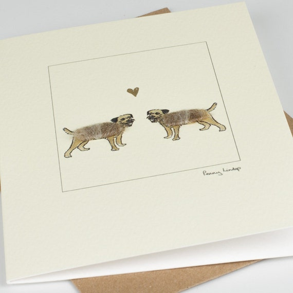 Mr and Mrs card fluffy dogs greeting card Anniversary card Wedding card Border Terriers Card Valentine/'s Card
