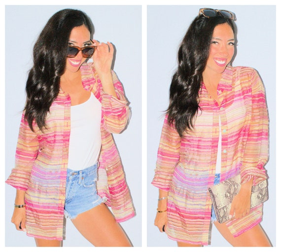 Pink Sheer Striped Kimono Button Up Overlay Tan Br