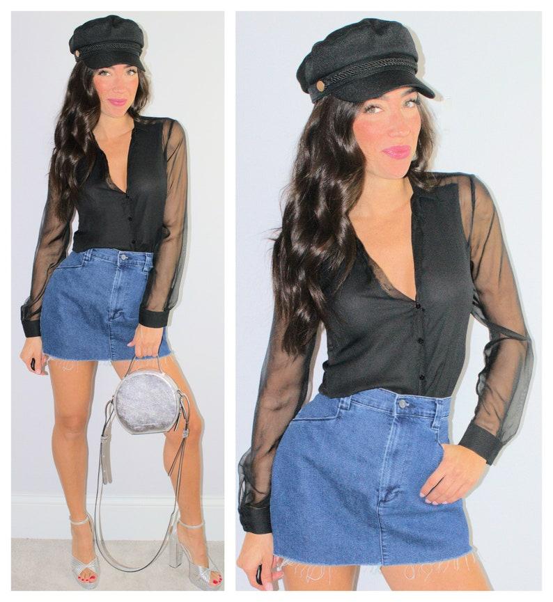 7b6d88f2aaf Blue Denim Jean Skirt High Waist Frayed Hem Cut Off Mini Skirt   Etsy