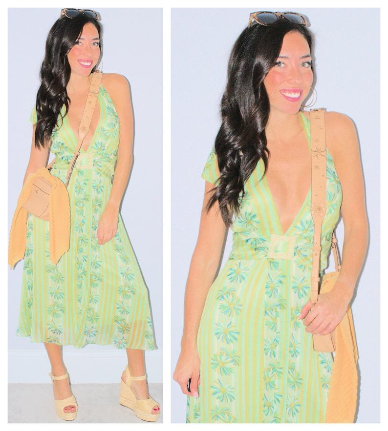Green Floral Halter Dress Daisy Flowers Blue Gold Metallic V-Neck Boho Hippie Gypsy Size 12 Vintage 90/'s Empire Waist Spring Summer Flowy