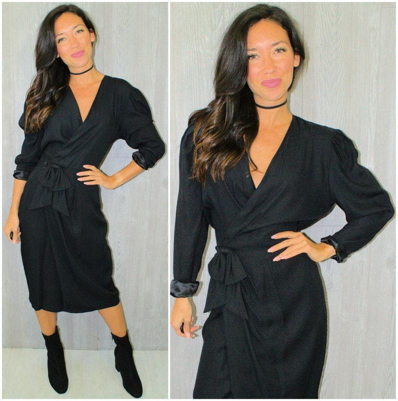 e551296f4275 Black Midi Dress Little Black Dress Wrap Style Cocktail | Etsy