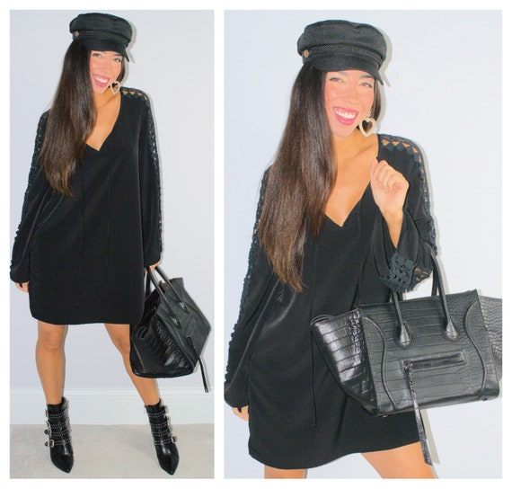 Black Cutout Sleeve Mini Dress Long Sleeve Tie Nec