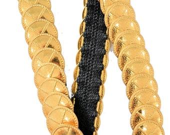 Gold Statement Belt Circle Coin Studded Elastic Waist Vintage 80's Onesize Boho Hippie Glam