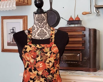 Thanksgiving / Fall Apron with Pocket - Autumn Leaves and Pumpkins on Black
