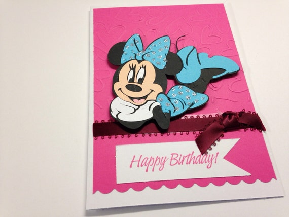 Handmade Minnie Mouse Birthday Card With Envelope Etsy