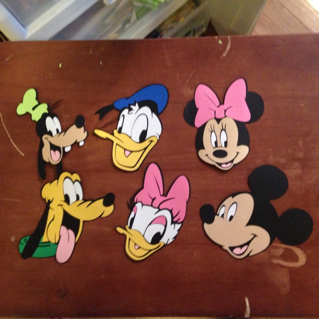 Set Of 6 Mickey Character Face Die Cuts Etsy