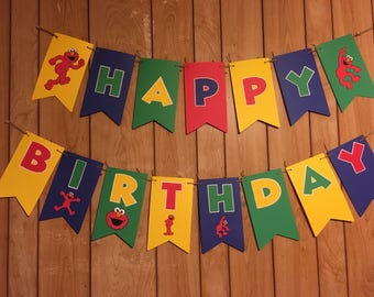 Elmo themed Birthday Banner (comes assembled)