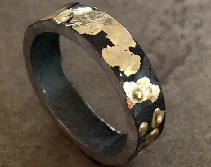 Size 9 Hammered Gold and Black Ring 4mm Oxidized Sterling Silver 18K Yellow Gold Mens Wedding Band