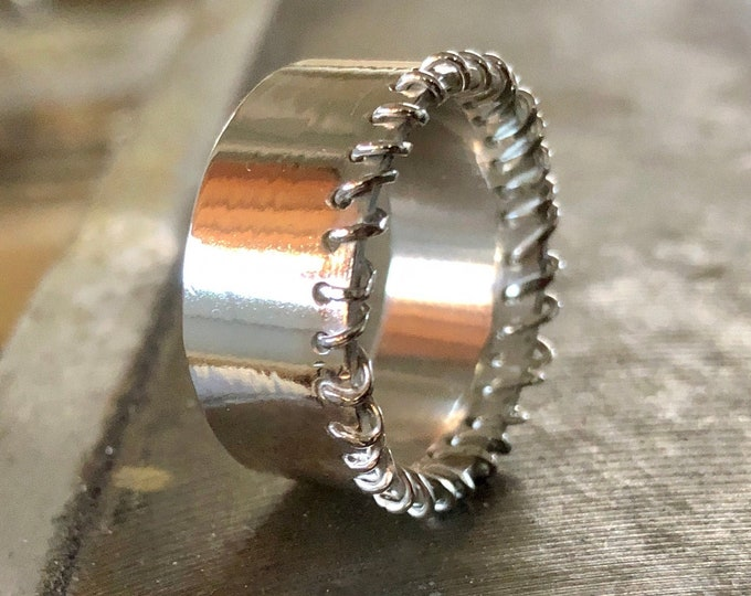 Silver Stitches Ring 10mm