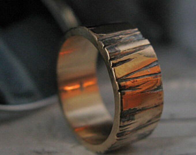 Bark Wedding Ring 8mm 14k Yellow Gold