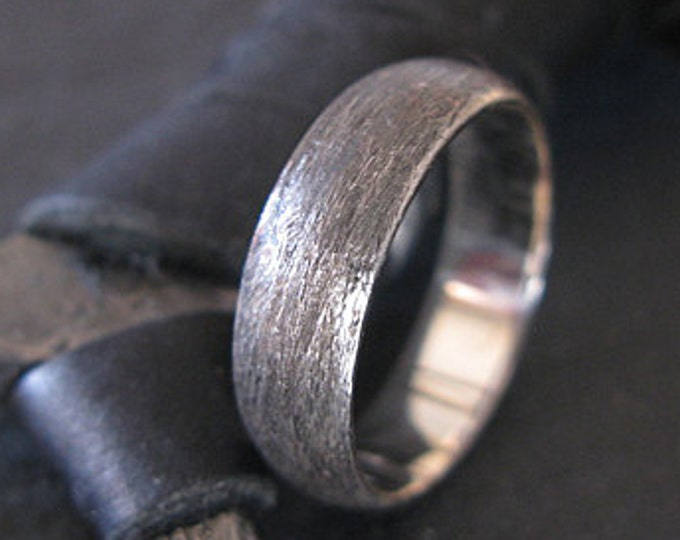 Brushed Sterling Silver Ring 6mm Unique Mens Wedding Band
