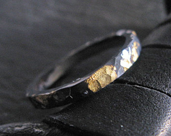 Hammered Black Ring 3mm Oxidized Sterling Silver 18K Yellow Gold Wedding Band