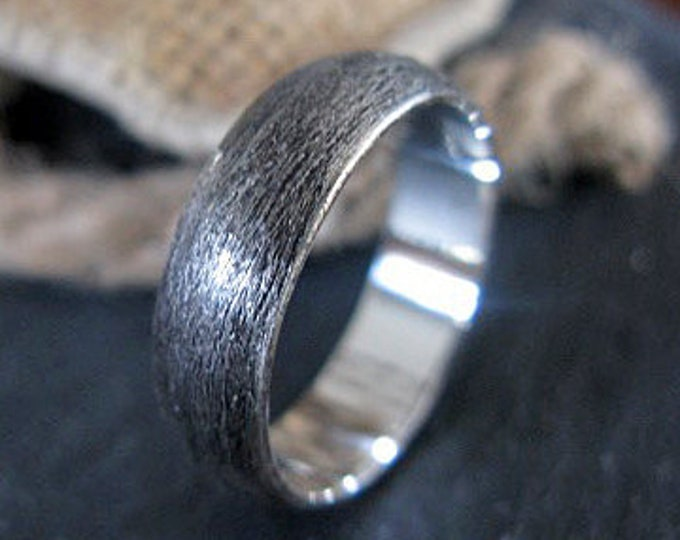 Sterling Silver Custom Wedding Band 6mm Brushed Finish Domed Mens Ring Oxidized Silver