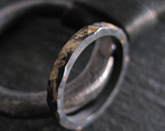 Gold and Black Ring 3mm Oxidized Sterling Silver 18K Yellow Gold Wedding Band