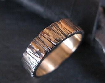 14K Gold Bark Ring Mens Wedding Band Mens Wedding Ring Mens Wedding Bands Rustic Mens Wedding Ring Unique Mens Wedding Band Viking Wedding