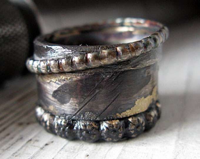 Mens 15mm Sterling Silver Viking Ring