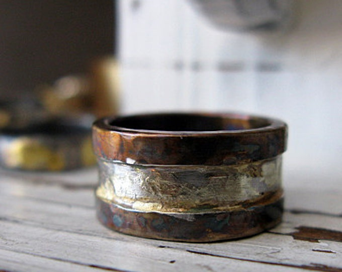Rustic Rimmed Ring 10mm Oxidized Sterling Silver Yellow Gold