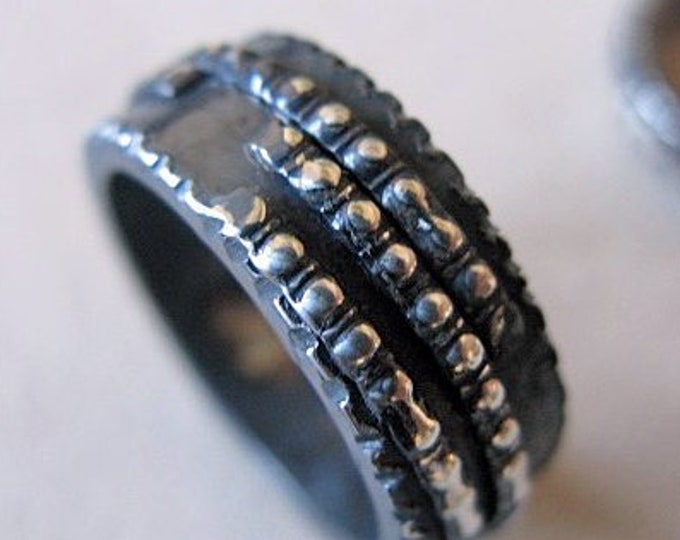 Viking Wedding Ring 8mm Blackened Sterling Silver