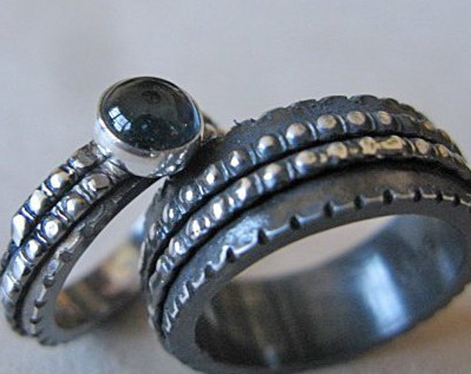 Viking Wedding Ring Set Blackened Sterling Silver