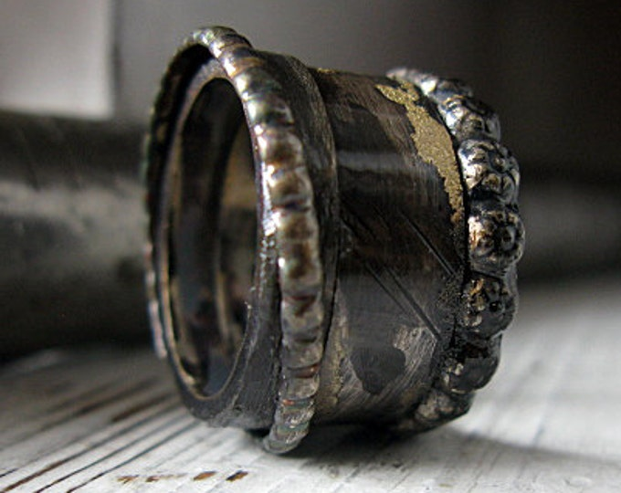 Medieval Ring 15mm Oxidized Sterling Silver