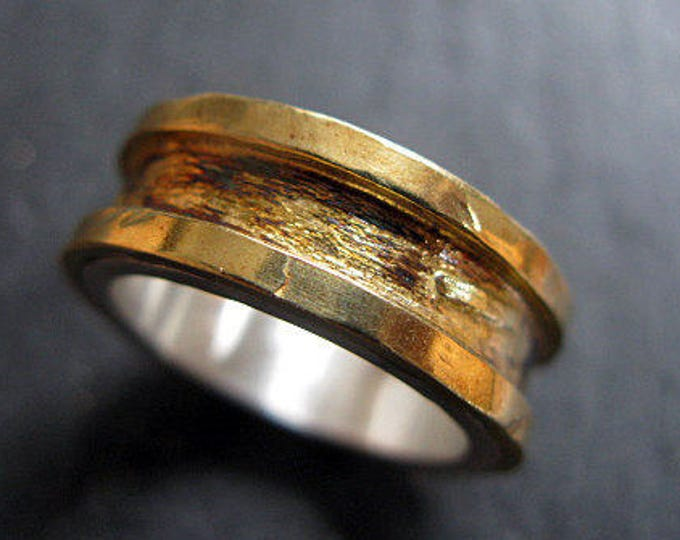 Rustic Mens Wedding Band 8mm Gold Size 7 1/2
